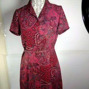Emma James Paisley Floral Midi Belted Dress SZ 8